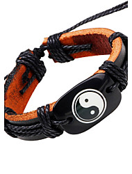 Men's Leather Bracelet Hip-Hop Personalized Leather Round Jewelry For Casual Stage