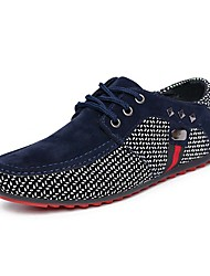 Women's Shoes Synthetic Microfiber PU Spring Fall Comfort Oxfords Flat Heel Round Toe With Lace-up For Casual Office & Career Blue Red