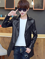Men's Casual/Daily Simple Fall Winter Trench Coat,Solid Peaked Lapel Long Sleeve Long PU