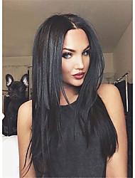 Mujer Sin Tapa Largo Liso Negro Peluca de celebridades Las pelucas del traje