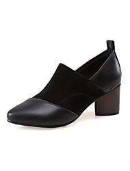 Damen Schuhe PU Frühling Herbst Komfort Neuheit Stiefeletten High Heels Blockabsatz Spitze Zehe Kombination Für Kleid Schwarz Grau