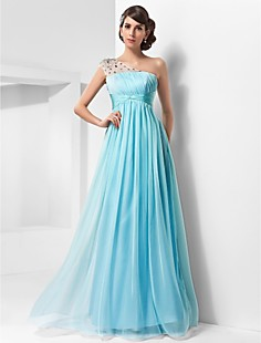 A-line One Shoulder Floor-length Chiffon And Tulle Evening/Prom Dress