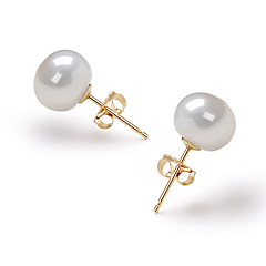 14k Gold White 7.5-8mm AAA Freshwater Pearl Earring