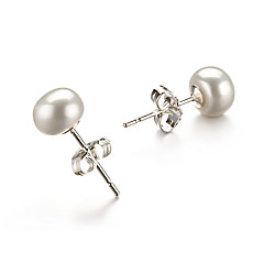 14k Gold white 6.5-7mm AA Freshwater Pearl Earring