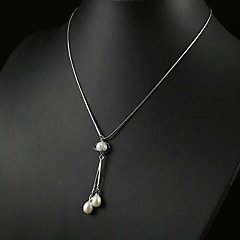"White 3.5 - 4mm A Pearl Pendant With 17"" Sterling Silver Chain"