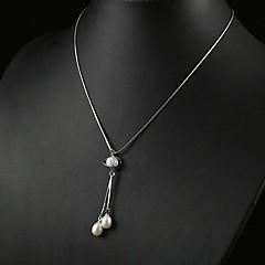"""weiße 3,5 - 4mm eine Perle Anhänger mit 17 """"Sterling Silber Kette"""