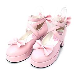 Lolita Shoes Sweet Lolita Princess High Heel Shoes Bowknot 6.5 CM Black / Pink For Women PU Leather/Polyurethane Leather