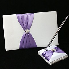 Guest Book Pen Set Satin Garden ThemeWithBow