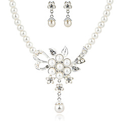 Beautiful Clear Crystals And Imitation Pearls Wedding Jewelry Set,Including Necklace And Earrings