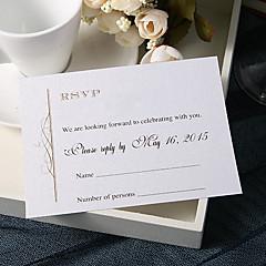 """Personalizado Cartão Raso Convites de casamento Cartões de resposta-20 Peça/Conjunto Estilo Clássico Papel Pérola 3 ½"""" x 5"""""""