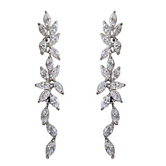 Elegant White Platinum Plated With Oval Shape Cubic Zirconia Earrings