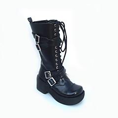 Sapatos Punk Lolita Plataforma Sapatos Cor Única 7.5 CM Preto Para Feminino Couro PU/Couro de Poliuretano