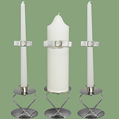 Rhinestone Wedding Unity Candles Set-White (Candle Holders Not Included)