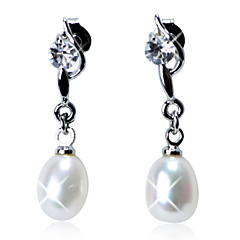 Elegant Sterling Silver Fresh Pearl Drop Earrings with Crystal