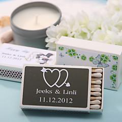 decoração do casamento caixas de fósforos personalizadas - corações duplos com seta (conjunto de 12)