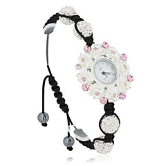 Charming Women's Alloy Quartz Movement Glass Round Shape Dress Watch with Crystal
