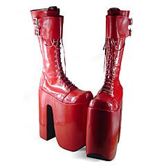 Boty Punk Lolita Ručně Vyrobeno Platforma Boty Jednobarevné 25 CM Červená Pro Dámské PU kůže/Polyurethanová kůže