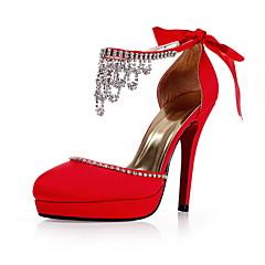 sateng øvre Stiletto hæl lukket tå med rhinestone bryllup / fest sko mer farge tilgjengelig