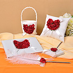 4 Collection Set White / Red Guest Book / Pen Set / Ring Pillow / Flower Basket