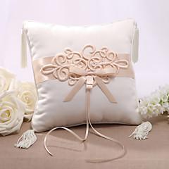 Satinado anillo de boda almohada Elegent con el nudo chino