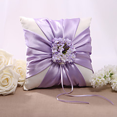 Lilac Floral Design Satin Wedding Ring Pillow