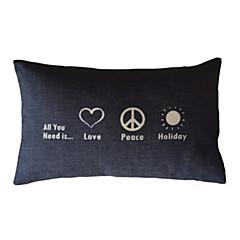 Kærlighed & Peace Bomuld / Linen Dekorativ Pillow Cover