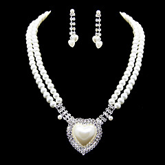 Schöne Imitation Pearl mit Strass Damen Schmuck-Set einschließlich Halskette, Ohrringe