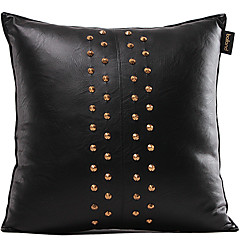 Faux Leather Pillow Cover , Solid Modern/Contemporary