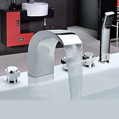 Kortárs Kifolyócső és zuhany széles spary / Kézi zuhanyzót tartalmaz with  Kerámiaszelep Három fogantyúk öt lyuk for  Króm , Kád csaptelep