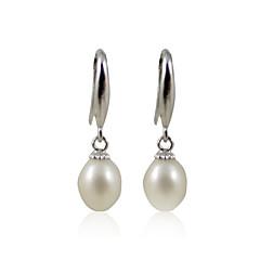 Charming 925 Sterling Silver Pearl Drop Earrings
