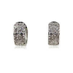 Platinum Plated Cubic Zirconia Huggie Earrings