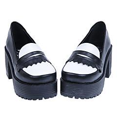Branco e preto Handmade PU Couro cinco centímetros Chunky calcanhar sapatos clássicos Lolita