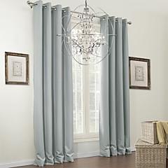 zwei Panele Modern Solid Grau Wohnzimmer Polyester Verdunklungsvorhänge Vorhänge