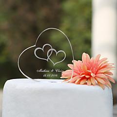 קישוטים לעוגה מותאם אישית זוג קלסי / לבבות קריסטל חתונה / מסיבה לכלה / יום שנה נושאי גן / נושא קלאסי קופסת מתנה