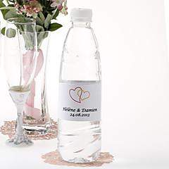 Personalized Water Bottle Sticker - Double Heart (Orange/Set of 15)