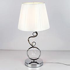 moderne Tischleuchte mit elegantem Stoffschirm Kristall Dekor weiß plissiert Stil 220-240V