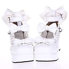 נעליים לוליטה מתוקה נסיכות עקב גבוה נעליים סרט פרפר 7.5 CM לבן עבור עור פוליאוריתן