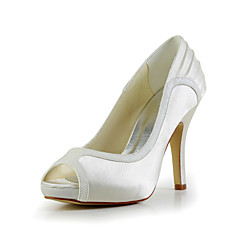 Women's Wedding Shoes Peep Toe Heels Wedding Black/Yellow/Red/Ivory/White/Silver/Gold/Champagne