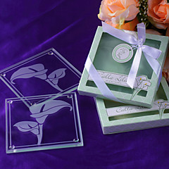"""Calla Lilies"" Frosted-Glass Coasters in Floral-Inspired Gift Box"