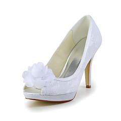 Women's Spring / Summer / Fall Heels / Peep Toe Satin / Stretch Satin Wedding Stiletto Heel Satin Flower Ivory / White