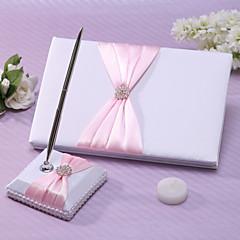 Guest Book / Pen Set Satin Garden ThemeWithSash / Rhinestones