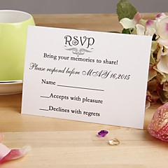"""לא מותאם אישית כרטיס שטוח הזמנות לחתונה כרטיסי מענה-12 יחידה / סט סגנון פרחוני נייר פנינה 3 ½"""" x 5""""(9ס""""מ*12.5ס""""מ)"""