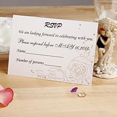 Non personnalisés Carte plate Invitations de mariage Cartes de réponse-12 Pièce/Set Style floral Papier nacre 9cm*12.5cm