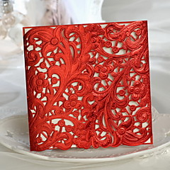 """A Red-letter Day""Floral Cut-out Wedding Invitation - Set of 50"
