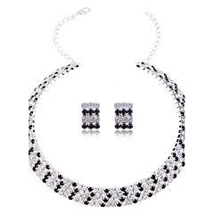 lureme многослойную кристалл комплект ювелирных изделий женщин (воротник ожерелье и серьги)