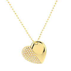 Heart Shape Gold met ketting Flash Drive 8G