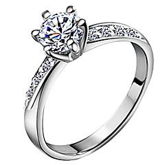 女性用 バンドリング 幸福 結婚式 クラシック ジルコン 銀メッキ 6本爪 ジュエリー 用途 結婚式 日常