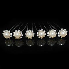 Ženy imitace drahokamu Slitina Imitace perly Přílba-Svatba Zvláštní příležitost Vlásenka 6 kusů