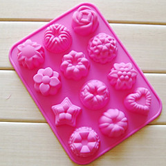 Tolv Huller blomst Muffin bageplade, Silicone (Color Randoms)