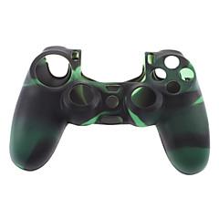 Silikoni iho tapauksessa ja 2 musta Thumb Stick Grips for PS4 (vihreä + musta)